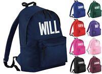Personalised Name Junior Backpack - Printed Customised Kids School Rucksack Bag