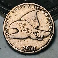 1858 Flying Eagle Cent One Penny 1C Small Letters Civil War Era US Coin CC5760