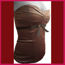 DATE NIGHT SPECIAL Chestnut maroon Satin Bustier ribbon Corset  French lingerie
