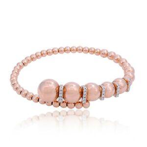 Natural 0.30 Ct SI/HI Diamond Bangle Bracelet Solid 18k Rose Gold Jewelry NEW