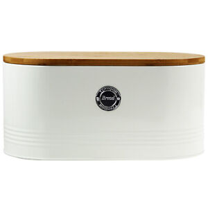 Typhoon Living Stainless Steel Bread Bin Cream With Bamboo Lid Kitchen Storage