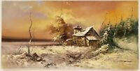 "Vintage Oil Painting on Canvas Winter Landscape Signed Unframed Art (24"" x 48"")"