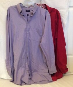 Lot of 2 IZOD Men's Button Front Dress Shirts 17.5 35/36 Tall Red Light Purple