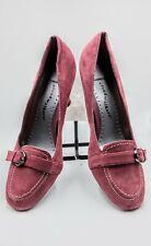 """Cloudwalkers Broadway Suede Top Buckle 3/4"""" Heel Career Shoes Blush Wine Color"""