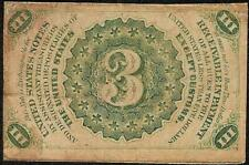 1864 Three 3 Cent Note Fractional United States Currency Civil War Paper Money