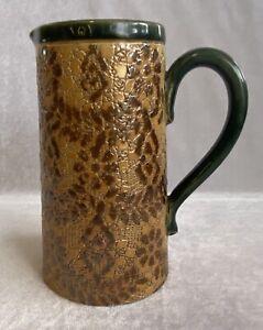 Rare Antique Doulton Slater's Stoneware Pottery Pewter Lidded Jug c1891-1902