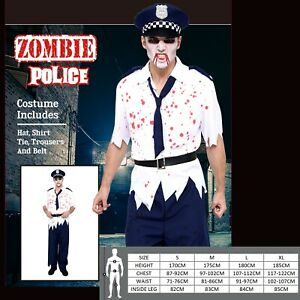 Men Halloween Zombie Policeman Fancy Dress Costume Police Man Outfit Officer Cop