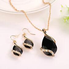 PRO Damen Frauen Wassertropfen Kristall Halskette + Ohrringe Set Schmuck Nue