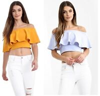 Ladies Off The Shoulder Frill Bardot Crop Top UK Size 8-14