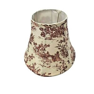 Vintage Custom Toile Pattern Lampshade Small Red Cream Print Bell French Country