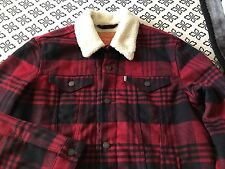 Men's Levi's Wool Blend Sherpa Lined Tibetan Buffalo Plaid Trucker Jacket Large