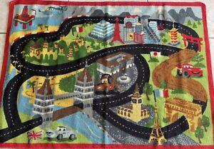 "Disney Pixar Cars Road Rug Mat Colorful Kids Play Rug Rubber Backing 39"""