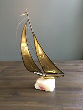 Mid Century Modern  Nautical Sail Boat Brass Quartz Sculpture Art