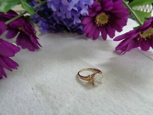 Vintage Cubic Zirconia 14kt Plumb Solid Gold Wedding Ring Size 7