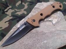 CRKT Hammond Desert Tan Cruiser Folding Knife Brown Plain Blade LAWKS 7904DB