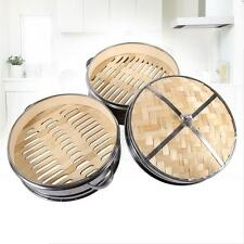 2 Tier Stainless Steel Bamboo Steamer Basket Rice Pasta Cooker Set+Lid Home Tool
