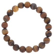 Mens Matte Tiger Eye Bracelet, Frosted Natural Stone Beads, Round Stretch Bracel