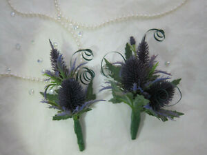 Scottish Thistle Buttonholes Or Corsages Wedding Flowers Groom Best man