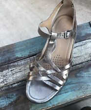 ECCO Flash Lattice Metallic Open Toe Wedge Sandals - Women's Size 35 Shoes