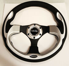 SALE NRG STEERING WHEEL 320MM SPORT LEATHER Silver Inserts (PILOT Pilota Style)