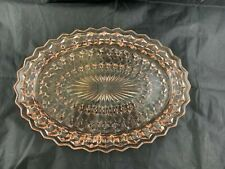 "Vintage Jeannette Glass Pink ""Holiday Buttons & Bows"" Oval Serving Platter"