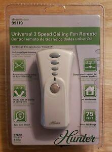 Hunter 99119 Universal 3 Speed Ceiling Fan & Light Wireless Remote Control Kit