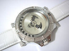 Silver Tone Metal Big Case White Leather Band Men's Watch w Crystals Item 3323