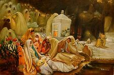 "ARABIC OIL PAINTING ARTIST SIGNED MIDDLE EASTERN WOMEN 24"" X 36"" ECLECTIC COOL"