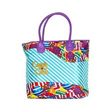 Candy Crush Blue Diagonal Stripes Purple Trim Shopping Tote Beach Bag