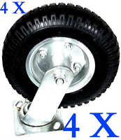 """4 PCS 8"""" AIR TIRE CASTER WHEEL SWIVEL BASE WITH BEARING DOLLY UTILITY MOVING CAR"""