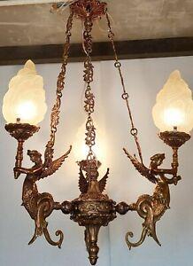 RARE OLD VINTAGE  ART DECO NOUVEAU MERMAID BRASS HANGING LIGHT CHANDELIER LAMP