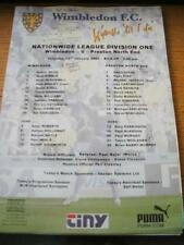 13/01/2001 Colour Teamsheet: Wimbledon v Preston North End (Folded, Writing On F