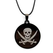 """JOLLY ROGER NECKLACE 1.32"""" Black Stainless Steel Pendant Charm Skull Pirate NEW"""