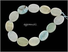 "13 Hemimorphite Flat Oval Beads 12x16mm 8"" #85104"