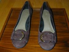 SHOES PUMPS Alex Marie Brown Suede Leather 1 1/4 High Women Heel 8 Buckle Cute