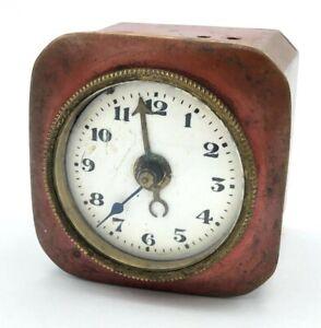 Antique Desk Travel Alarm Clock Vintage German D.R.R. & G.M Retro Brass Enamel