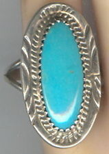 Oval Turquoise Cabochon set in Signed Sterling Silver in size 7 5/8 Ring