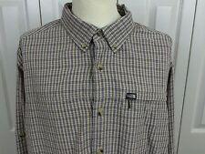 THE NORTH FACE Sz 2XL XXL L/S Shirt Beige Brown Blue Plaid Zip Pocket