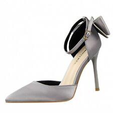 Korean Women Slim High Heel Pointy Toe Satin Bowknot Wedding Bridal Sandals Club