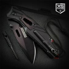 Black MULTI TOOL Bottle Opener Fire Starter Whistle Assisted Open Pocket Knife