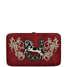 RED STITCHED TOOLED HORSE HORSESHOE LOOK FLAT THICK WALLET NEW