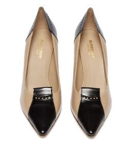 Burberry New Authentic Eldmon bi-colour leather pumps Size 38