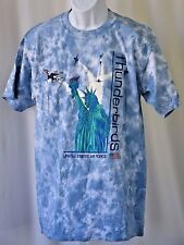 Usaf Thunderbirds Statue of Liberty Flag F-16 Blue Tie Die Large 42� T Shirt