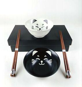 Japanese Porcelain Soup Bowls Smiling Cat Chopsticks Gift Set Black White 4693
