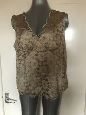 JACQUES VERT, UK 20, EURO 46, GOLD LACE V NECK SLEEVELESS TOP/BLOUSE, PRE-LOVED