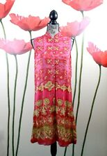 Amanda Smith Pure Silk Geo Print Button Shirt Dress, Red Magenta Gold Size 12