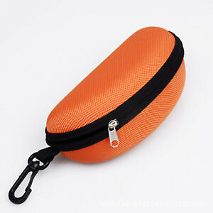 Portable Zipper Eye Glasses Clam Shell Sunglasses Hard Case Protector With Hook