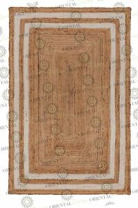 Double Border White Jute Hand Made Rug, Decor Rug Customize in Any Size..