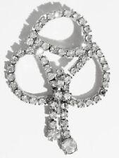 broche bijou vintage cristaux swarovski diamant pampille couleur argent * 3331