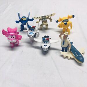 "Super Wings Lot of 8 Mini 1.5"" PVC Plane Figures (Alpha, 2018) Non-Transforming"